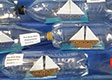 Ships in bottles made by students at Koromatua School 2